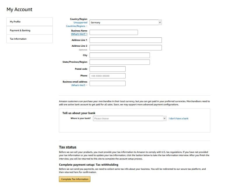 Merch By Amazon anmelden - Anmeldeformular ausfüllen