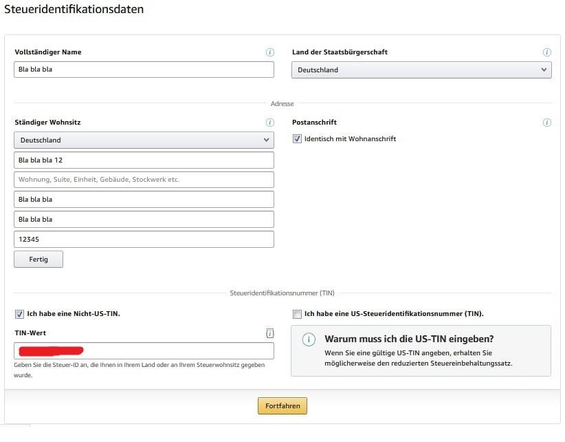 MBA Anmeldung - Steuerfidentifikationsdaten